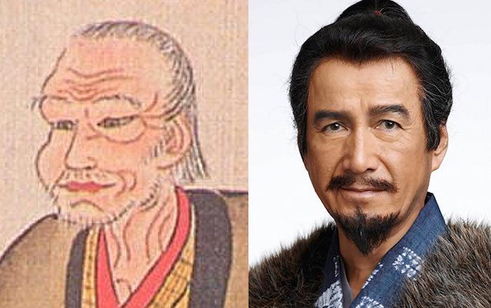 真田昌幸の肖像画と草刈正雄の比較(『真田丸』キャスト)