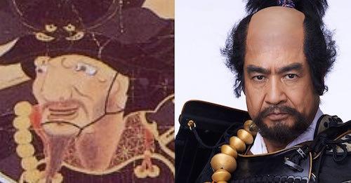 本多忠勝の肖像画と藤岡弘、の比較(『真田丸』キャスト)